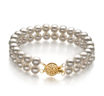 Lola White 6-7mm Double Strand AA Quality Freshwater Cultured Pearl Bracelet