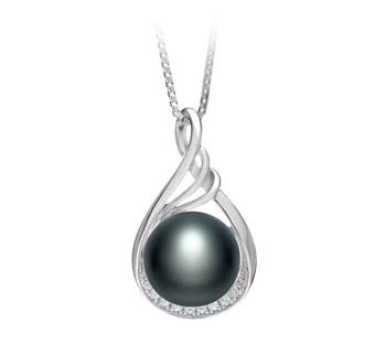 Lori Black 10-11mm AAA Quality Freshwater 925 Sterling Silver Cultured Pearl Pendant