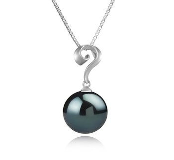 Lorna Black 11-12mm AAA Quality Tahitian 925 Sterling Silver Cultured Pearl Pendant