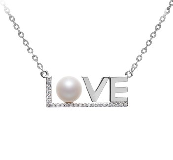 LOVE White 6-7mm AAAA Quality Freshwater 925 Sterling Silver Cultured Pearl Necklace
