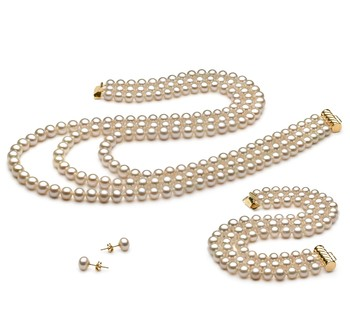Lucille White 6-7mm Tripple Strand AA Quality Freshwater Cultured Pearl Set