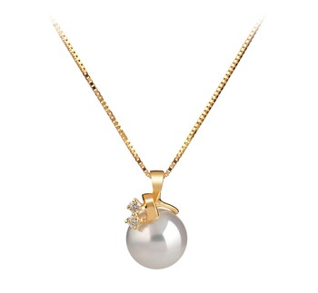 Luella White 7-8mm AAA Quality Japanese Akoya 14K Yellow Gold Cultured Pearl Pendant