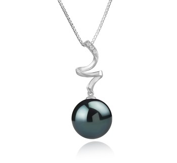 Lydia Black 12-13mm AAA Quality Tahitian 925 Sterling Silver Cultured Pearl Pendant