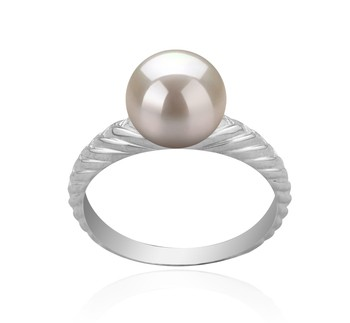 Mada White 8-9mm AAAA Quality Freshwater 925 Sterling Silver Cultured Pearl Ring