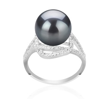 Maddie Black 10-11mm AAA Quality Tahitian 925 Sterling Silver Cultured Pearl Ring