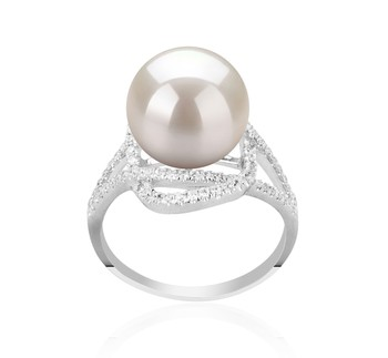 Maddie White 10-11mm AAAA Quality Freshwater 925 Sterling Silver Cultured Pearl Ring
