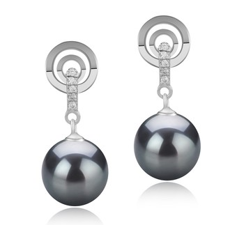 Madonna Black 8-9mm AAAA Quality Freshwater 925 Sterling Silver Cultured Pearl Earring Pair