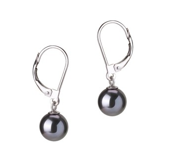 Marcella Black 7-8mm AAAA Quality Freshwater Cultured Pearl Earring Pair