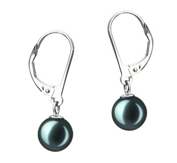 Marcella Black 7-8mm AA Quality Japanese Akoya Cultured Pearl Earring Pair