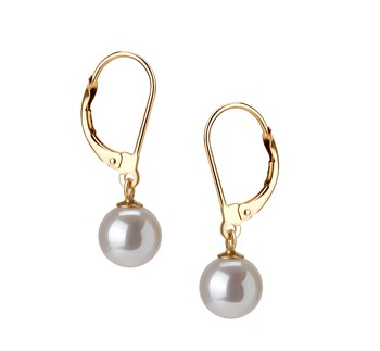 Marcella White 7-8mm AAAA Quality Freshwater Cultured Pearl Earring Pair