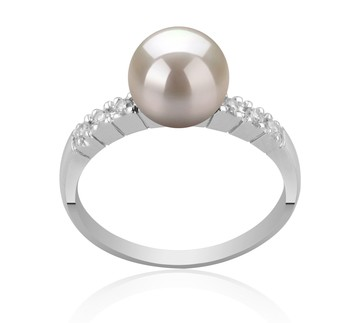Marian White 7-8mm AAA Quality Japanese Akoya 925 Sterling Silver Cultured Pearl Ring