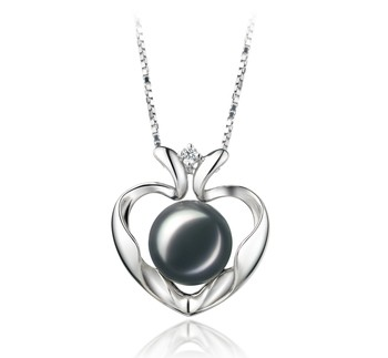 Marlina Heart Black 9-10mm AA Quality Freshwater 925 Sterling Silver Cultured Pearl Pendant