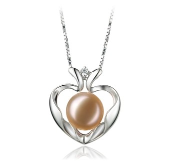 Marlina Heart Pink 9-10mm AA Quality Freshwater 925 Sterling Silver Cultured Pearl Pendant