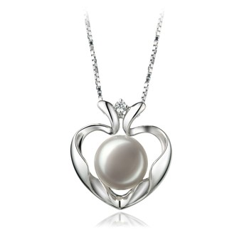 Marlina Heart White 9-10mm AA Quality Freshwater 925 Sterling Silver Cultured Pearl Pendant