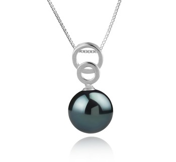 Marlo Black 12-13mm AAA Quality Tahitian 925 Sterling Silver Cultured Pearl Pendant