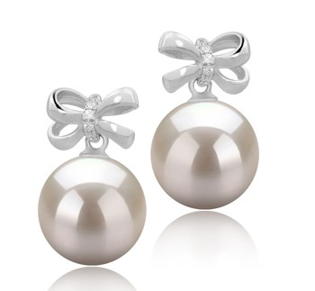 Marte White 9-10mm AAAA Quality Freshwater 925 Sterling Silver Cultured Pearl Earring Pair
