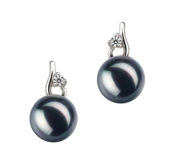 Melissa Black 7-8mm AA Quality Japanese Akoya 925 Sterling Silver Cultured Pearl Earring Pair