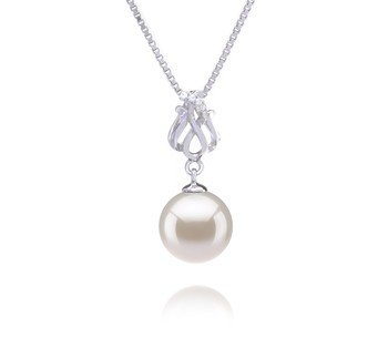 Merina White 9-10mm AAAA Quality Freshwater 925 Sterling Silver Cultured Pearl Pendant