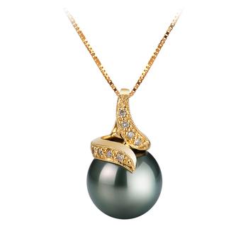 Mina Black 12.5-13mm AAA Quality Tahitian 14K Yellow Gold Cultured Pearl Pendant