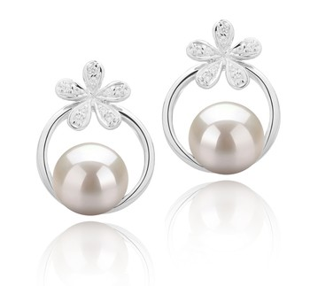 Molly White 7-8mm AAAA Quality Freshwater 925 Sterling Silver Cultured Pearl Earring Pair