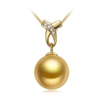 Monica Gold 10-11mm AAA Quality South Sea 14K Yellow Gold Cultured Pearl Pendant