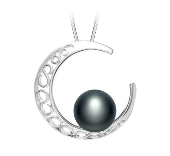 Moon Black 9-10mm AAA Quality Freshwater 925 Sterling Silver Cultured Pearl Pendant