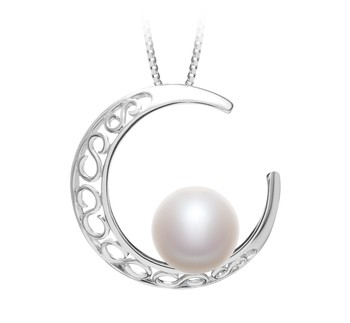 Moon White 9-10mm AAA Quality Freshwater 925 Sterling Silver Cultured Pearl Pendant