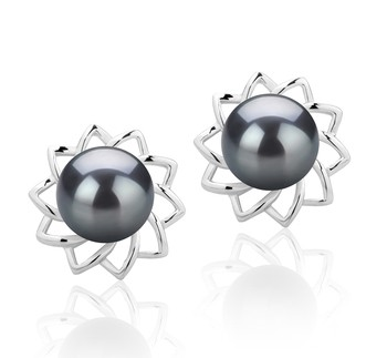 Morgan Black 7-8mm AAAA Quality Freshwater 925 Sterling Silver Cultured Pearl Earring Pair