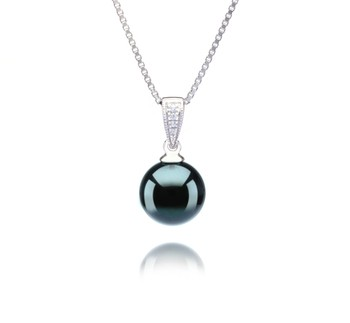 Mosina Black 8-9mm AA Quality Japanese Akoya 925 Sterling Silver Cultured Pearl Pendant
