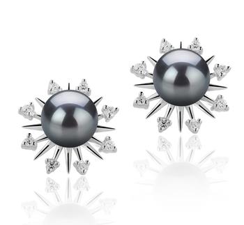 Natasha Black 7-8mm AAAA Quality Freshwater 925 Sterling Silver Cultured Pearl Earring Pair