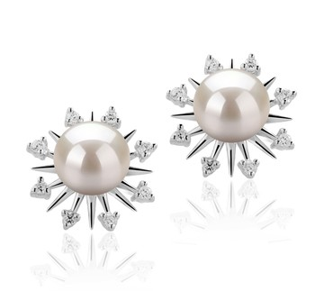 Natasha White 7-8mm AAAA Quality Freshwater 925 Sterling Silver Cultured Pearl Earring Pair