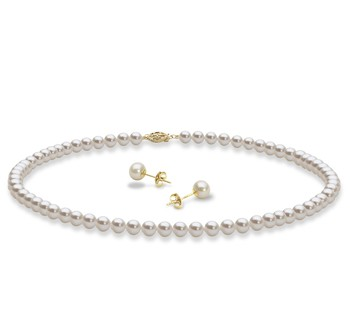 Necklace and Earrings White 5-6mm AAA Quality Freshwater Cultured Pearl Set