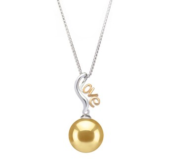 Nelia Gold 10-11mm AAA Quality South Sea 925 Sterling Silver Cultured Pearl Pendant