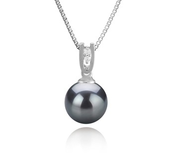 Nerea Black 8-9mm AAAA Quality Freshwater 925 Sterling Silver Cultured Pearl Pendant