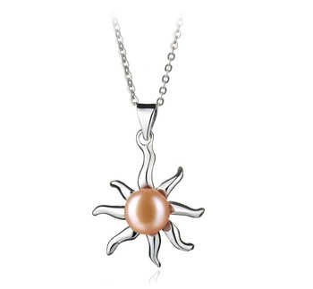 Nina Pink 7-8mm AA Quality Freshwater White Bronze Cultured Pearl Pendant