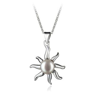Nina White 7-8mm AA Quality Freshwater White Bronze Cultured Pearl Pendant