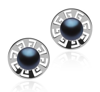 Noah Black 8-9mm AAA Quality Freshwater 925 Sterling Silver Cultured Pearl Earring Pair