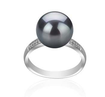 Oana Black 10-11mm AAAA Quality Freshwater 925 Sterling Silver Cultured Pearl Ring