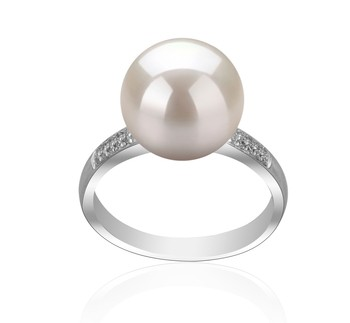 Oana White 10-11mm AAAA Quality Freshwater 925 Sterling Silver Cultured Pearl Ring