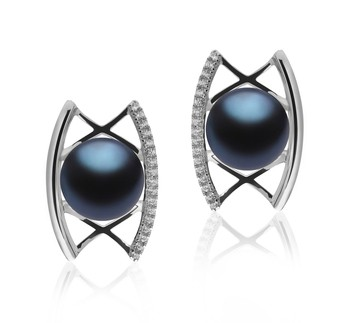 Odelia Black 8-9mm AAA Quality Freshwater 925 Sterling Silver Cultured Pearl Earring Pair