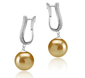 Ophelia Gold 10-11mm AAA Quality South Sea 925 Sterling Silver Cultured Pearl Earring Pair