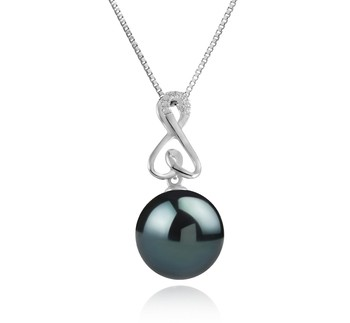 Patsy Black 12-13mm AAA Quality Tahitian 925 Sterling Silver Cultured Pearl Pendant