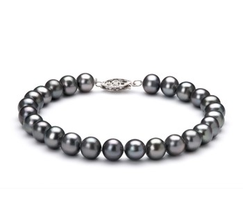 Black 6-7mm AA Quality Freshwater 925 Sterling Silver Cultured Pearl Bracelet