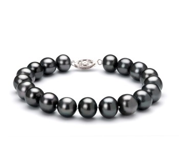 Black 8.5-9mm AA Quality Freshwater 925 Sterling Silver Cultured Pearl Bracelet
