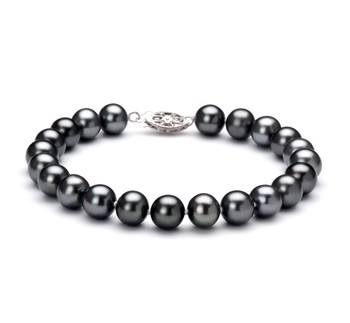 Black 7.5-8.5mm AA Quality Freshwater 925 Sterling Silver Cultured Pearl Bracelet