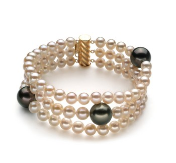 Black and White 5-11mm AA Quality Tahitian and Freshwater 14K Yellow Gold Cultured Pearl Bracelet