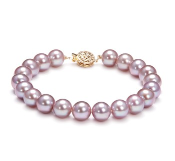 Lavender 8.5-9.5mm AAAA Quality Freshwater Gold filled Cultured Pearl Bracelet
