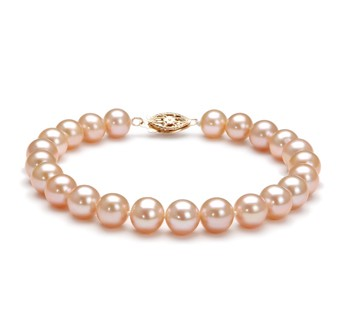 Pink 7-8mm AA Quality Freshwater Gold filled Cultured Pearl Bracelet