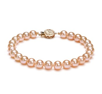 Pink 6-6.5mm AAAA Quality Freshwater Gold filled Cultured Pearl Bracelet