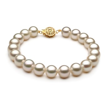 White 8-9mm AAA Quality Freshwater Gold filled Cultured Pearl Bracelet